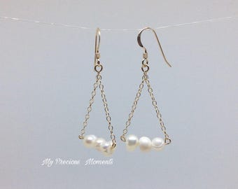 14k gold filled earrings. Freshwater pearl earrings. Chandelier drop dangle earrings. Bridal earrings. Bridesmaid earrings.