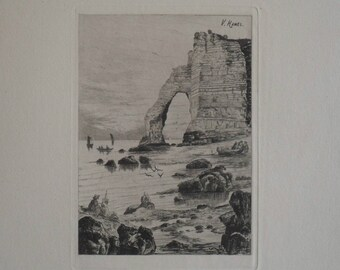 Fine Art Etching - La porte d'aval a maree basse by French artist V Hamel - 1875 on hand-laid paper uncut, original and rare.
