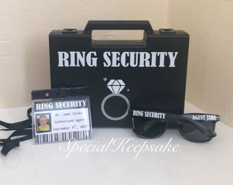 Ring Security Black Box Briefcase Sunglasses Agent Badge Ring Bearer Page Boy Bridesmaid Usher Best Man Bride Groom Wedding Wooden Toy Gun