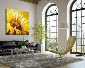 Large Wall Art, Oil Painting, Paintings on Canvas, Canvas Art, Sunflower Painting, Extra Large Wall Art Painting, Large Painting