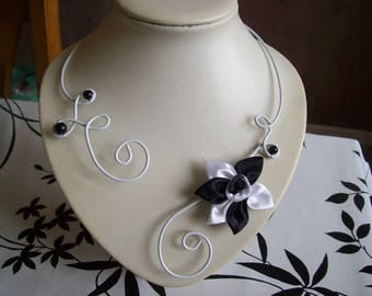 wedding wire wheels White Pearl bridal necklace black satin flower black / white holiday evening ceremonies