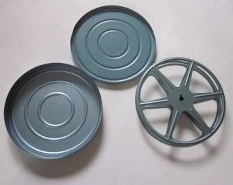 Vintage 16mm Film Reel & Case, Blue Vintage Film Reel w/Case, Small Vintage Metal Film Reel and Case