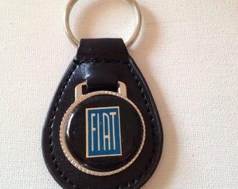Fiat Keychain Black Leather Key Chain