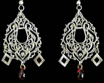 Boho Chandelier Earrings, With Red Teardrop Bead Accent In Antique Silver Tone