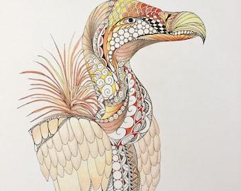 Zentangle vulture,vulture art,zentangle art,bird art,colored zentangle,ink colored pencils,wall art,wall decor