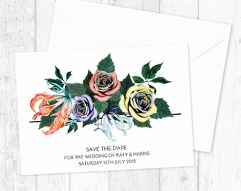 Folk Floral Bouquet Save The Date Card Invitations Custom Printed and Printable - Indie Hippie Save The Dates - Save The Date Postcards