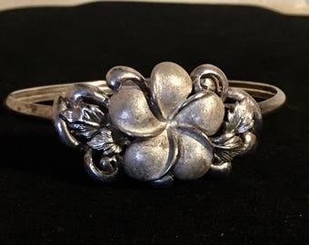 Sterling Silver Plumeria Hawaiian flower bangle bracelet