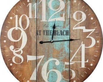 beach house wall clock, life is better at the beach clock, driftwood wall clock, beach wall clock, turquoise wall clock, shore wall clock