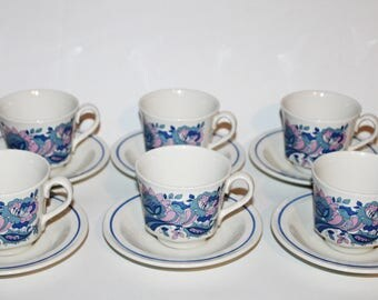 Set of 6 Retro Ridgway England Cups & Saucers Ironstone Pattern: Fantasia Retro Blue and Pink Florals