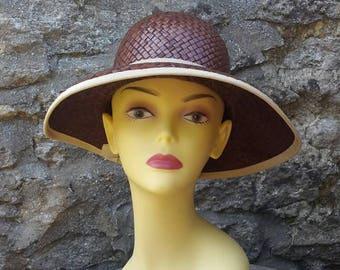 flapper 50s hat woven straw bucket sun hat