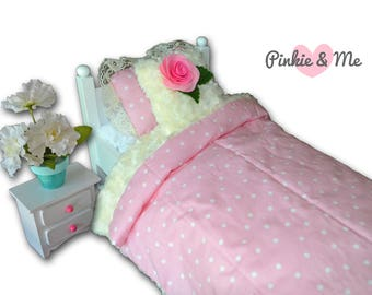 "18"" Doll Bedding 3 Piece Set ~ Pink Rose, Pink with Polka Dots"