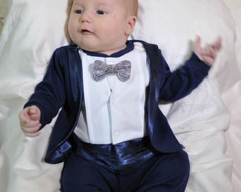 Navy tuxedo for baby boy, Baby Tuxedo, Baby boy wedding outfit-Coming home outfit baby boy-Hospital outfit, Take home outfit