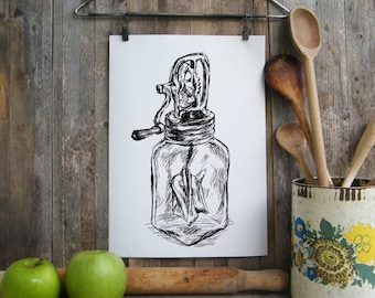 Antique butter churn print, Antique poster, Rustic kitchen decor, Printable art, Clip art, DIY home decor, Hostess gift, Digital file