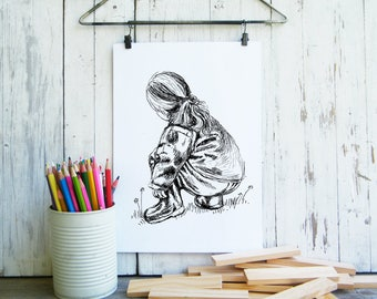 Little girl printable, Wall art, Kids wall decor, Black and white poster, Coloring pages, Gift for mom