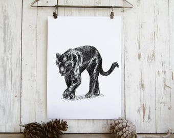 Panther Printable, Black Panther Poster, Tiger Wall Art, Woodland Animals, Natural Art, Wild Animals, Gift Under 10, Digital art