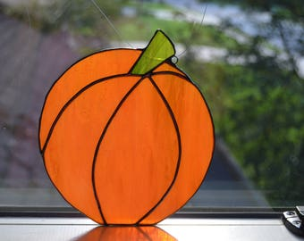 Stained glass orange pumpkin sun catcher 5.5 x 6.5