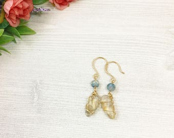 Sunstone Agate Earrings >> Wire Wrapped Gold Oregon Sunstone and Blue/Green Agate >> Natural Stone >> Bohemian Jewelry >> Gifts For Her