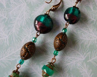 "Pierced ear Bohemian ""Malachite"" copper metal, glass lampwork, Czech glass"