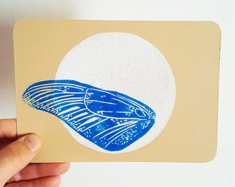 Map postcard Butterfly wing blue linogravee on white moon