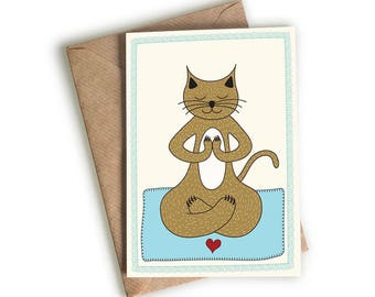 Yoga Cat in the Lotus Position - Greeting Card - Blank Card - Illustrated & Hand-drawn Stationery - Made in UK - Note Card