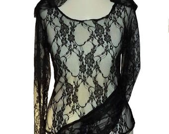 """Gary"" Black Lace sleeves top long pagoda hood elven fairy Sanlivine"