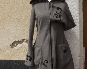 "Large fleece hood coat jacket fairy elven ""Elfrith"" taupe Sanlivine"