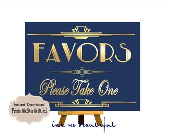 PRINTABLE Navy Blue Favors Sign,Gatsby party decoration, Roaring 20s Art deco,Wedding Sign, Wedding Decor
