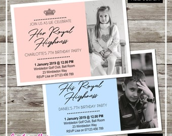 Girl's Birthday Invitations/Invites Party DIY Personalised Pink or Blue Designs Download Jpg Png PDF Limited Time Special Price! Royal Party