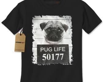 Pug Life Pug Mug Shot Jail Mens T-shirt