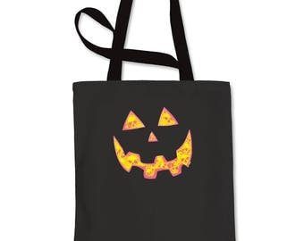 Jack O' Lantern Face with Skulls Shopping Tote Bag