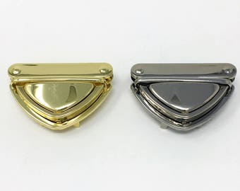 Embrayage verrou langue bourse serrure or et argent 5 cm x 7 cm