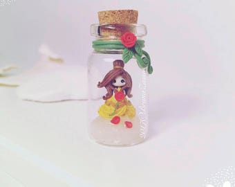 Fimo Polymer Clay necklace Kawaii Cute Chibi Belle Disney Princess Princess Flask tiny Pink Rose beautiful beast Gift Handmade Charms