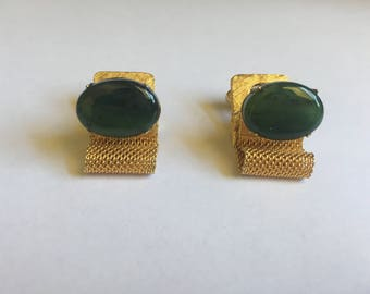 Vintage Green Agate and Gold Mesh Wrap Around Cuff Links 1218