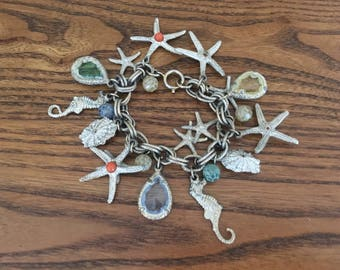 Accessocraft? Vintage Whitewashed Starfish, Seashell, Seahorse and Colored Glass  Charm Bracelet 1270