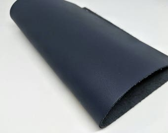 "Leather Scrap, Genuine Leather, Leather Pieces, Dark Blue, Size 8.25"" by 11.5""  Leather Scrap for DIY Projects."