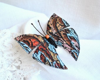 Multicoloured butterfly fiber brooch Textile Fiber art pin Embroidery butterfly Hand made textile butterfly insect brooch Jewelry for here