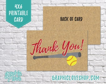 Printable 4x6 Fastpitch Softball Thank You Card - Folded or Postcard   Digital JPG Files, Instant Download, NOT Editable, Ready to Print