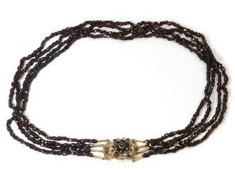 Antique Victorian Garnet Necklace Original Bohemian Garnet, c. 1880