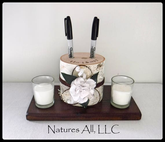 Pen Holder AND Rustic Wood Base/Guest Book Pen Holder-White Birch With Satin Flower And Dark Walnut Base/Log Pen Holder/Rustic Decor