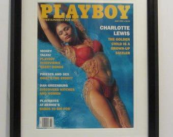 Vintage Playboy Magazine Cover Matted Framed : June 1993 - Charlotte Lewis