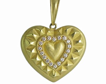 Vintage Heavy 18K Gold and Diamond Heart Pendant