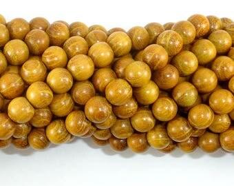 Yellow Wood Beads, Nangka Wood Beads, 8mm(7.8mm) Round Beads, 32 Inch, Full stand, 108 Beads, Mala Beads (009979024)