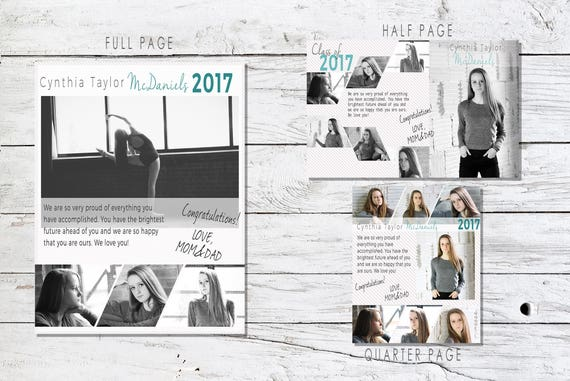 Senior Yearbook Ad Photoshop Template Graduation
