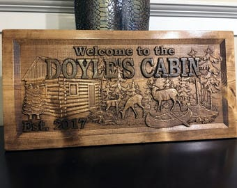 Wood Carved Personalized Cabin Sign, Lake Cabin Sign, Mountain Cabin Sign