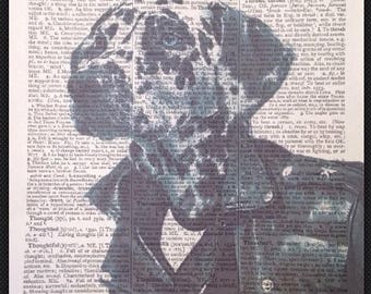 Dalmatian Vintage Print Vintage Dictionary Book Page Wall Art Picture Dog Pet Dog Love Friends Quirky Funky Humanised
