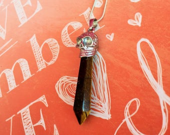 Tiger's Eye Stone Pendulum w/Necklace / Halloween Crystals