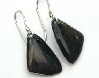 Small Butterfly Wing Earrings on Sterling Silver Fish Hook Earwires