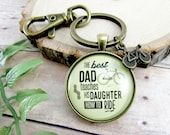 The Best Dad Teaches His Daughter How to Ride Cyclist Keychain Fathers Day Gift from Daughter Bicycle Keychain Mans Athletic Key Ring Charm