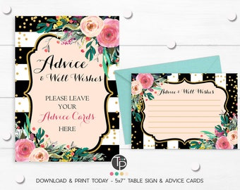 BRIDAL SHOWER ADVICE Cards, Instant Download Advice Cards, Floral Advice Cards, Baby Shower Advice Cards, Floral Black Stripes Advice Cards