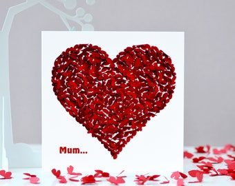 Mother's Day Card  Mum Birthday Card, Mum Thank You Card, Mum Butterfly Card, Heart Mum Card, Love Mum Card